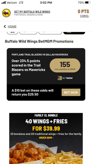 BetMGM Buffalo Wild Wings